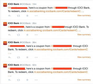 ICICI's tweeted notifications of transfer visible to everyone.